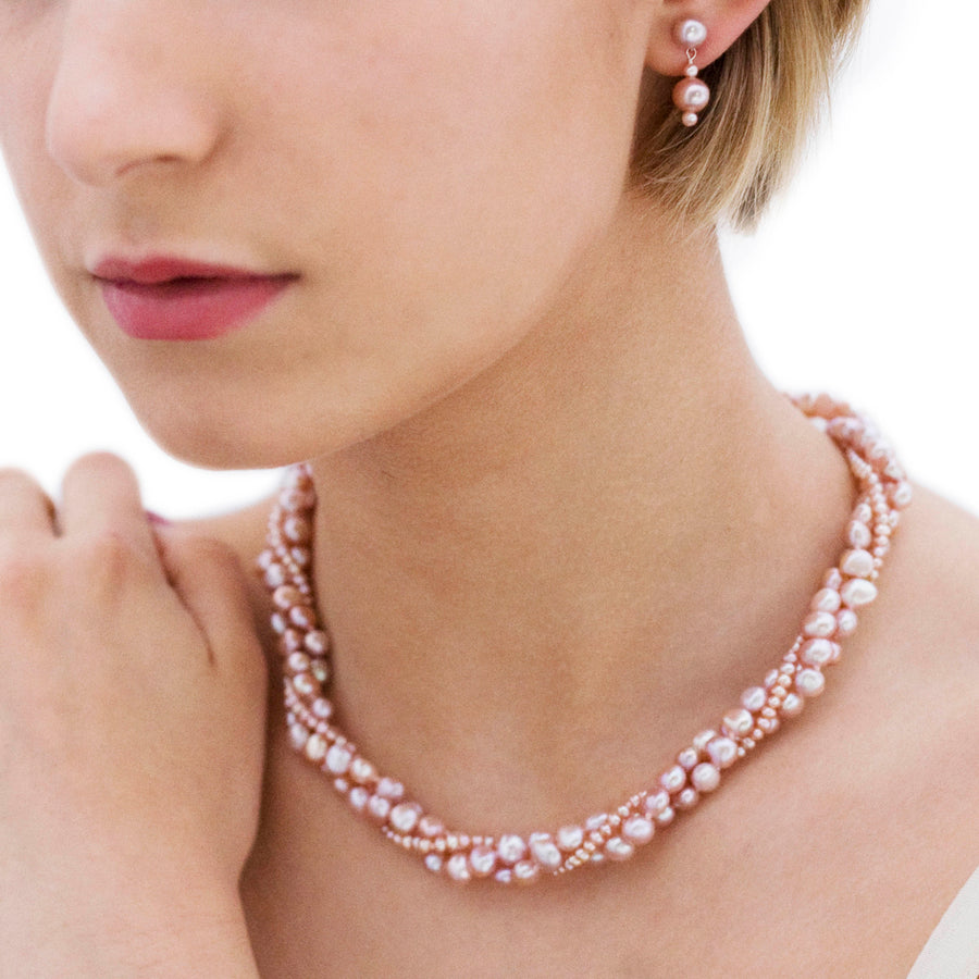 3 Strand Mixed Pearl Necklace in Pink