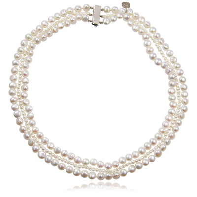 White Freshwater Pearl (Mixed Size) 3 Strand Necklace