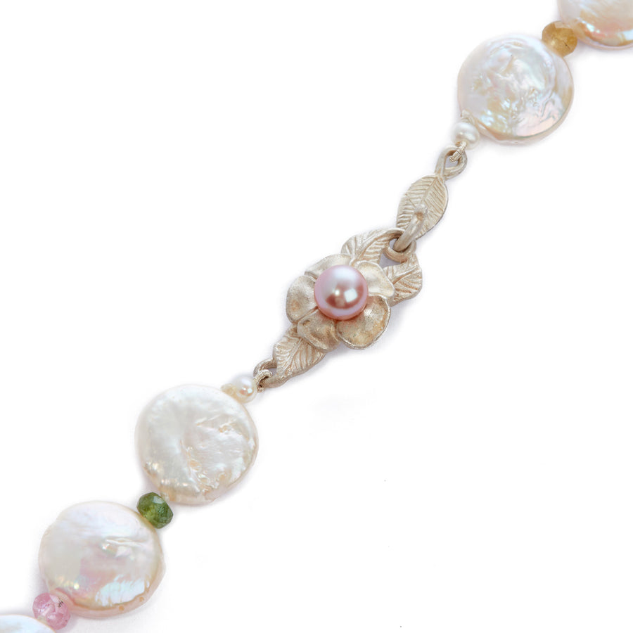 Joyful Silver Flower on M&M and Tourmaline Necklace