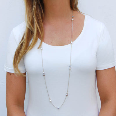 3-Tone Freshwater Pearl & Long Chain Necklace