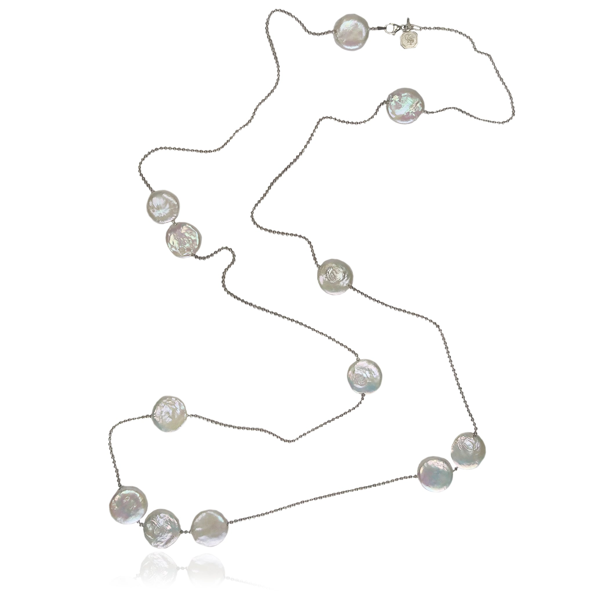 White M&M Freshwater Pearl & Silver Necklace