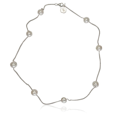 White Freshwater Pearl & Silver Chain Necklace