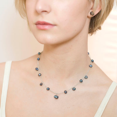 Black Biwa Pearl & Silver Chain Necklace