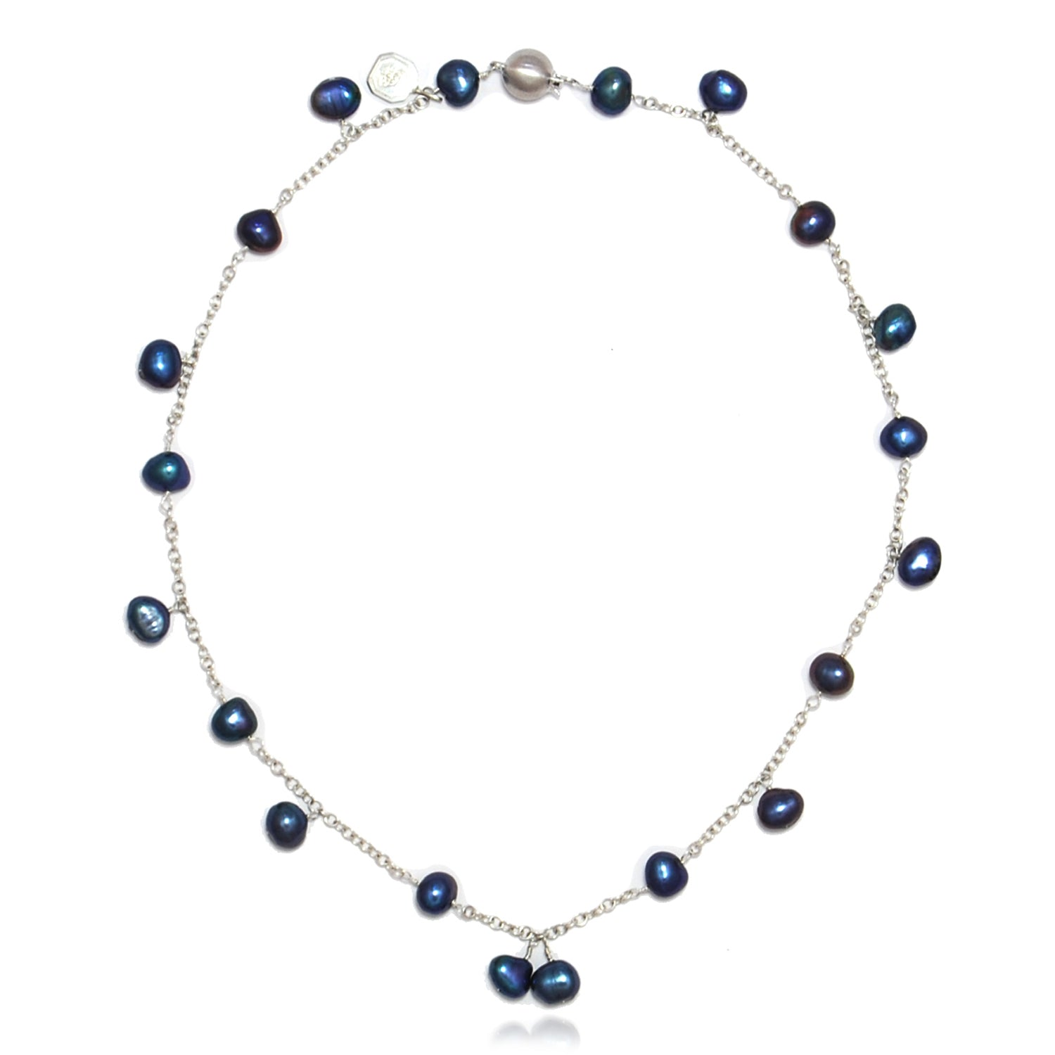 Biwa Pearl and Silver Chain Necklace in Peacock Black
