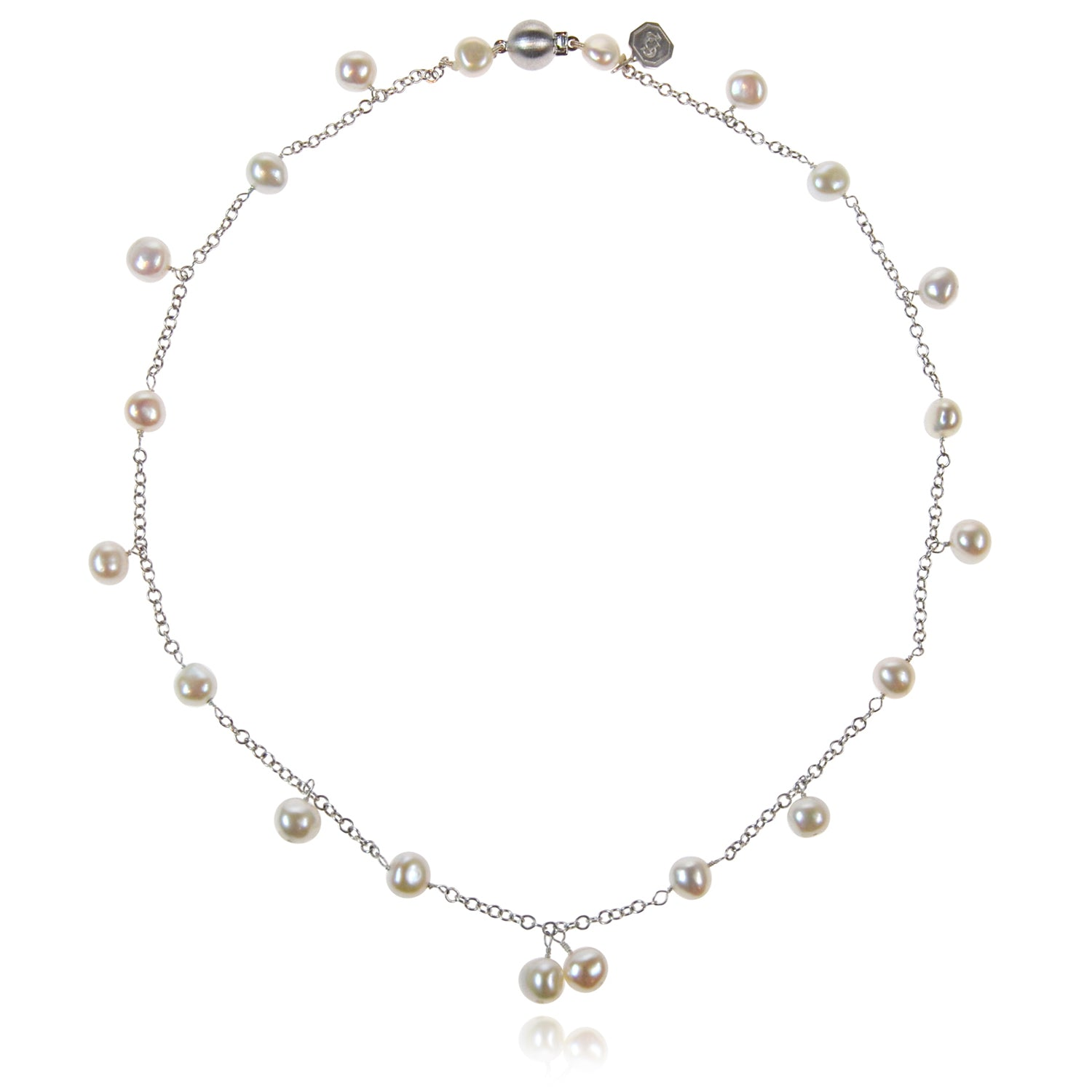Biwa Pearl and Silver Chain Necklace in White