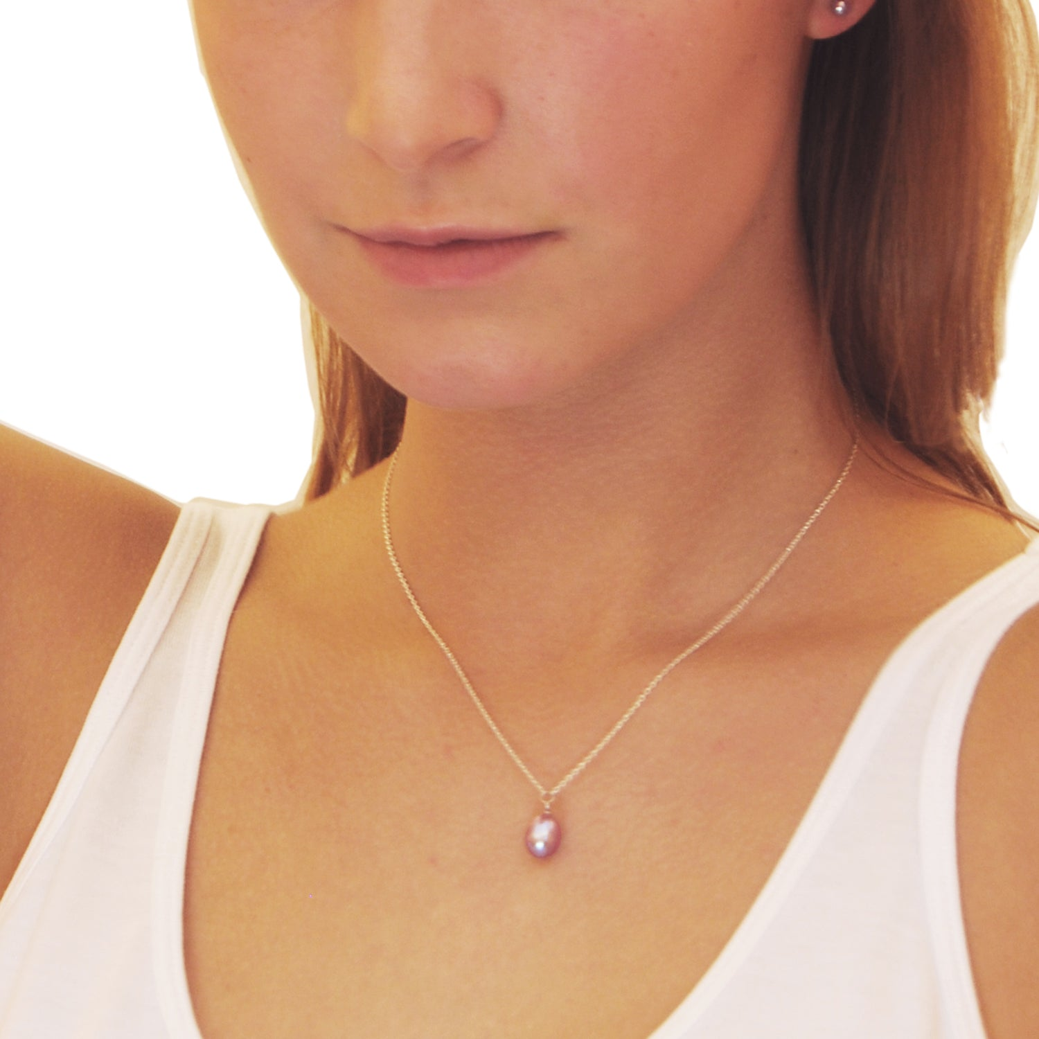 Freshwater Pearl Drop Necklace in Pink