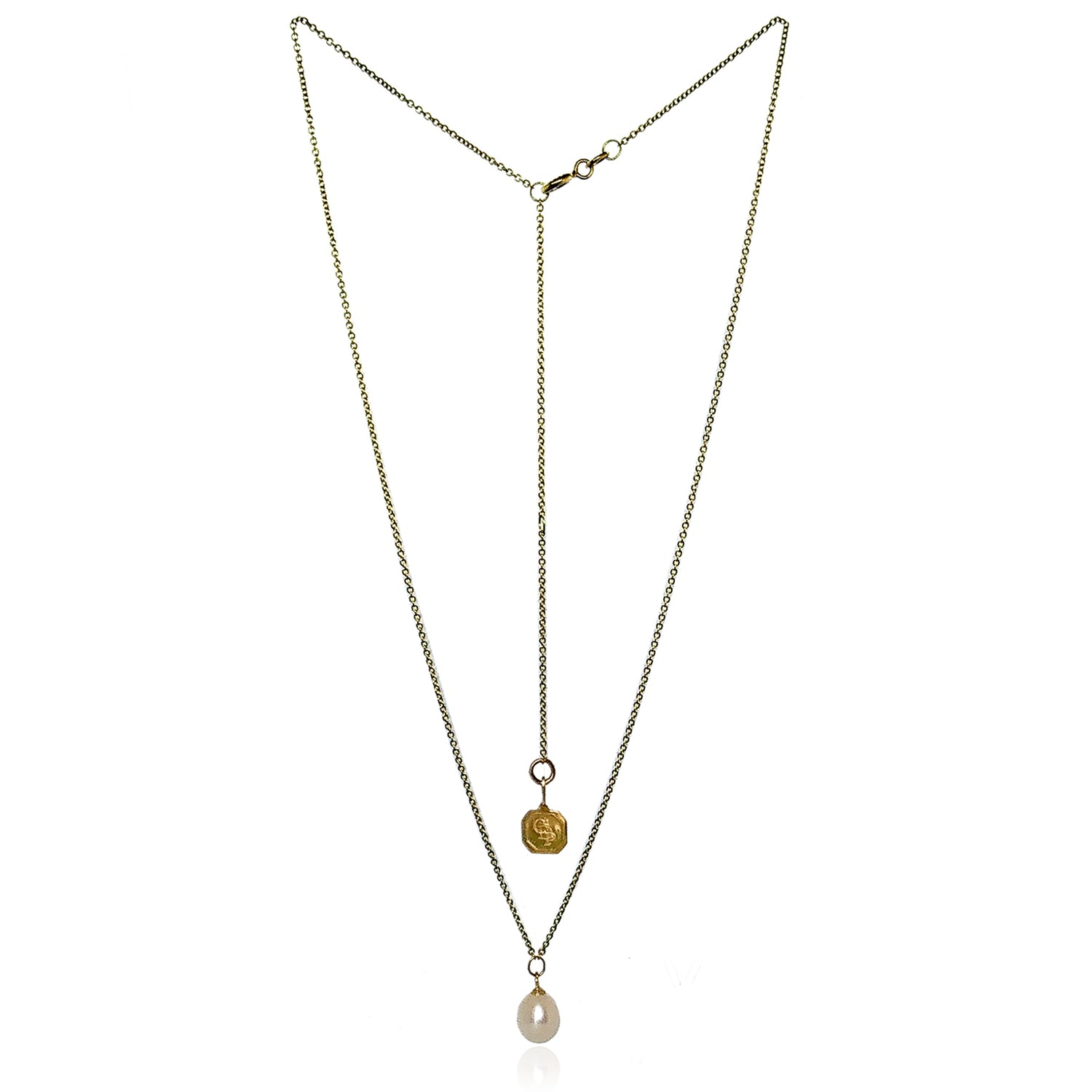 White Freshwater Pearl 'Simple' 18ct Gold Pendant