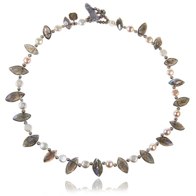 White, Black Freshwater Pearl & Labradorite 'Salt & Pepper' Necklace