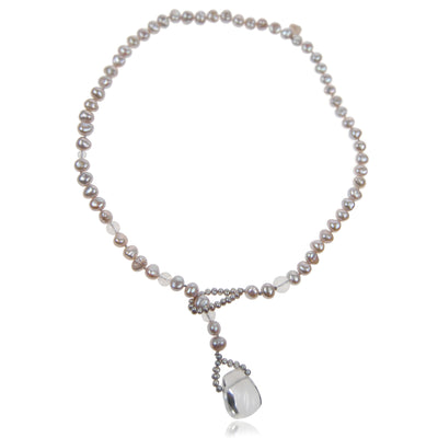 Grey Biwa Pearl & Rock Crystal Short Lasso Necklace