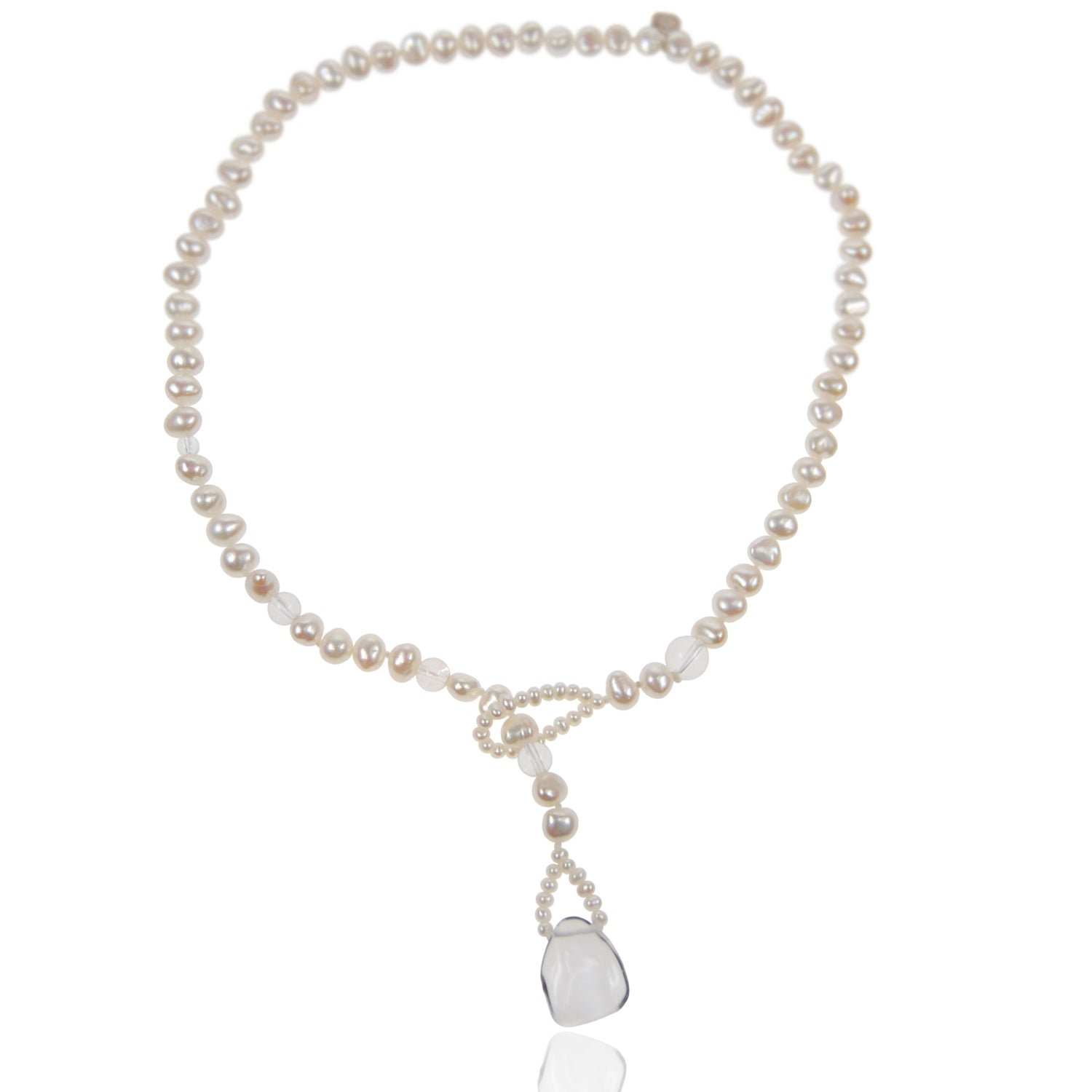 Biwa Pearl and Rock Crystal Short Lasso Necklace in White