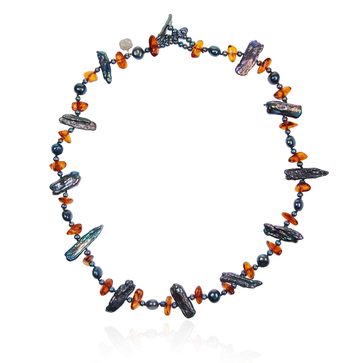Black Freshwater Pearl & Amber Asymmetric Necklace