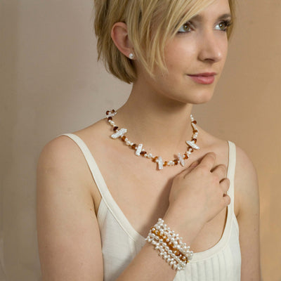 White Freshwater Pearl & Amber Asymmetric Necklace