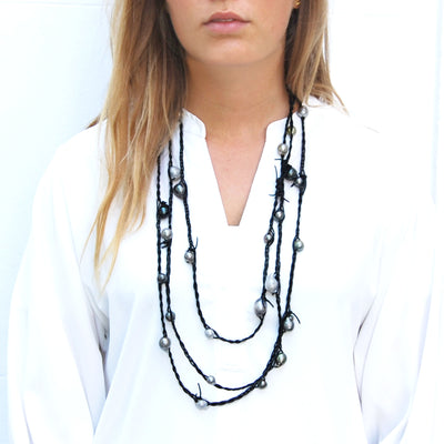 Black-Grey Tahitian Pearl 'Warrior' Rope Necklace