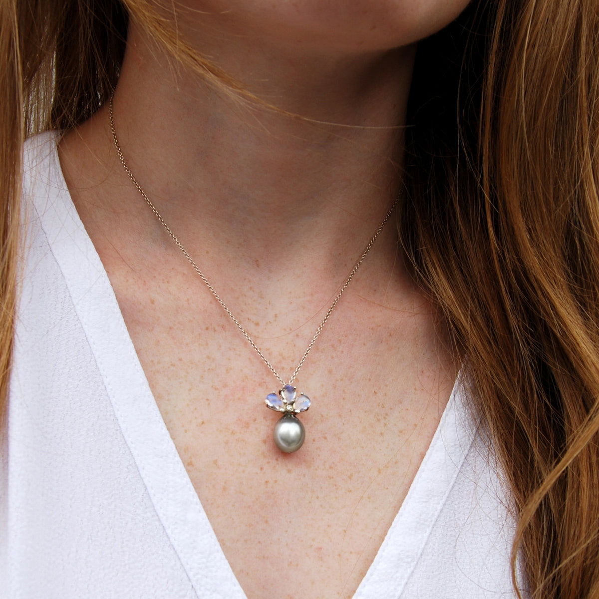 Blue Tahitian Pearl, Diamond & Moonstone Pendant