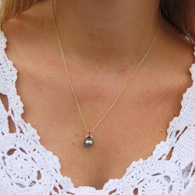 Black Tahitian Pearl, Pink Tourmaline & Diamond, Gold 'Happy' Pendant