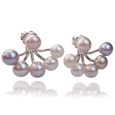 Joyful Earring Jackets with Freshwater Pearl Branches