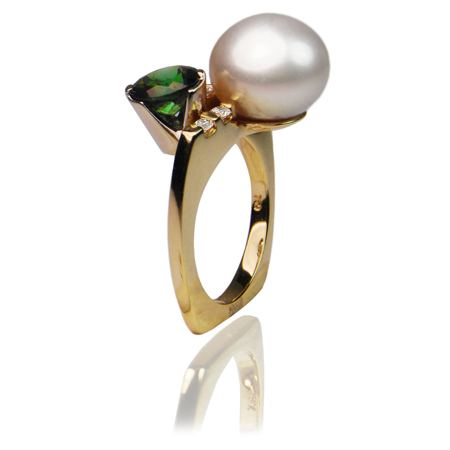 South Sea Pearl and Tourmaline Gold Ring