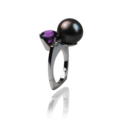 Black Tahitian Pearl & Amethyst White-Gold Ring