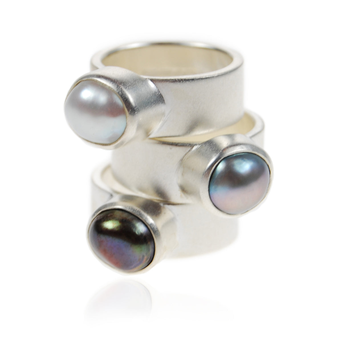 Grey Biwa Pearl & Sculpted Silver Ring