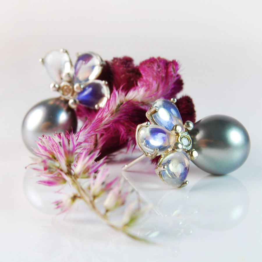 Tahitian Pearl, Diamond and Moonstone Earrings