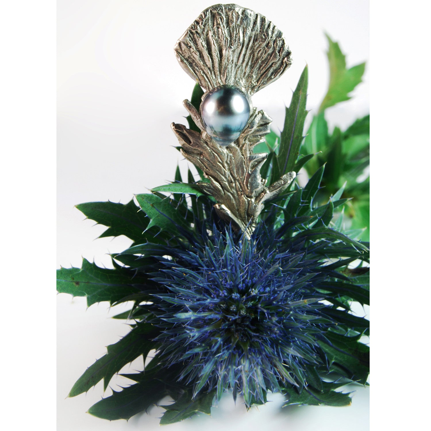 Silver Thistle and Pearl Pin
