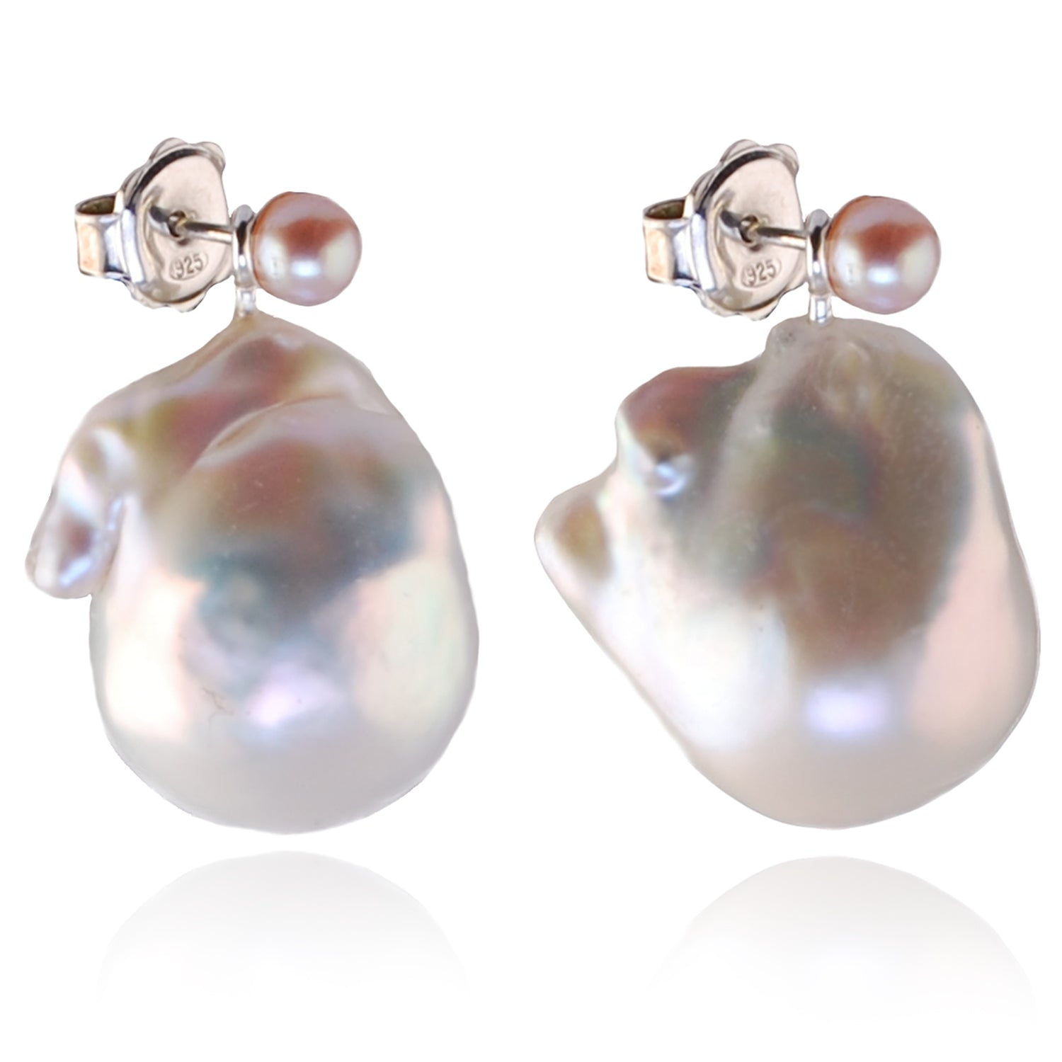 Freshwater Baroque Shape Pearl Optional Drops on pink Pearl Stud