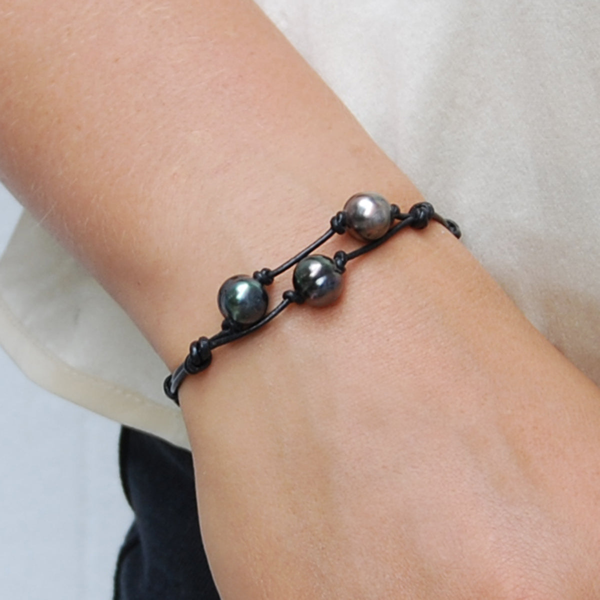 Black Tahitian Pearl & Black Leather 'Warrior' Bracelet