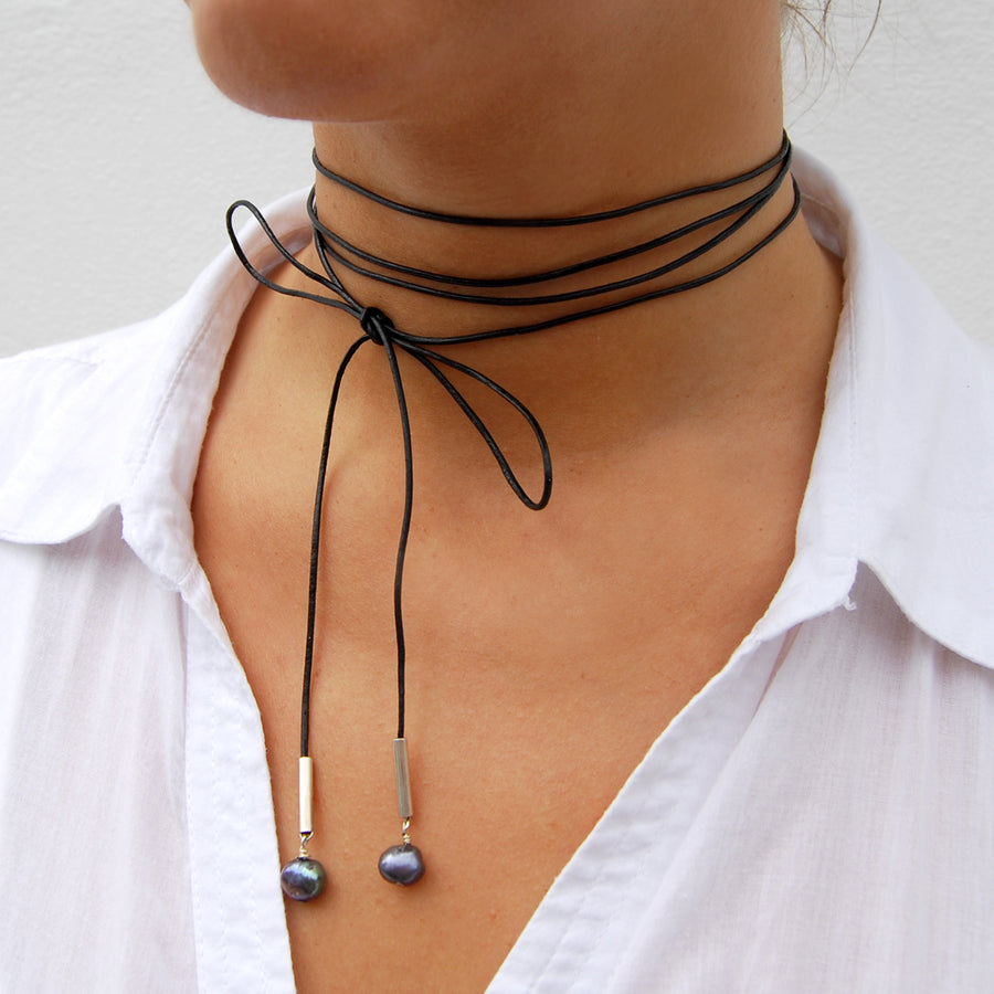 Joyful Black Leather Necklace With Two Pearl Drops