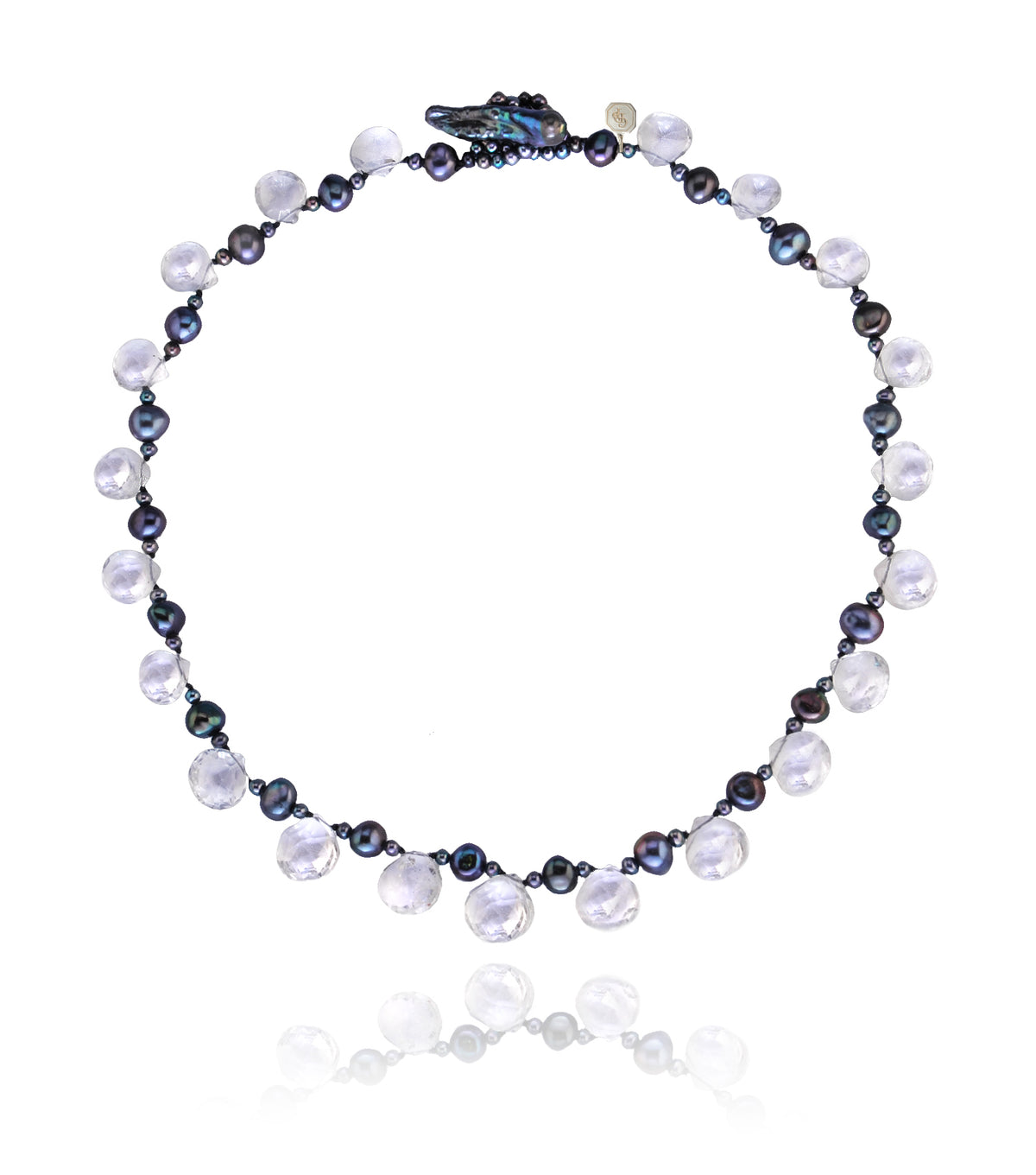 Faceted Rock Crystal Droplet Necklace With Black Pearl Spacers