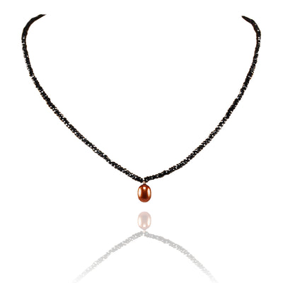 Black Spinel Necklace with Freshwater Pearl Drop