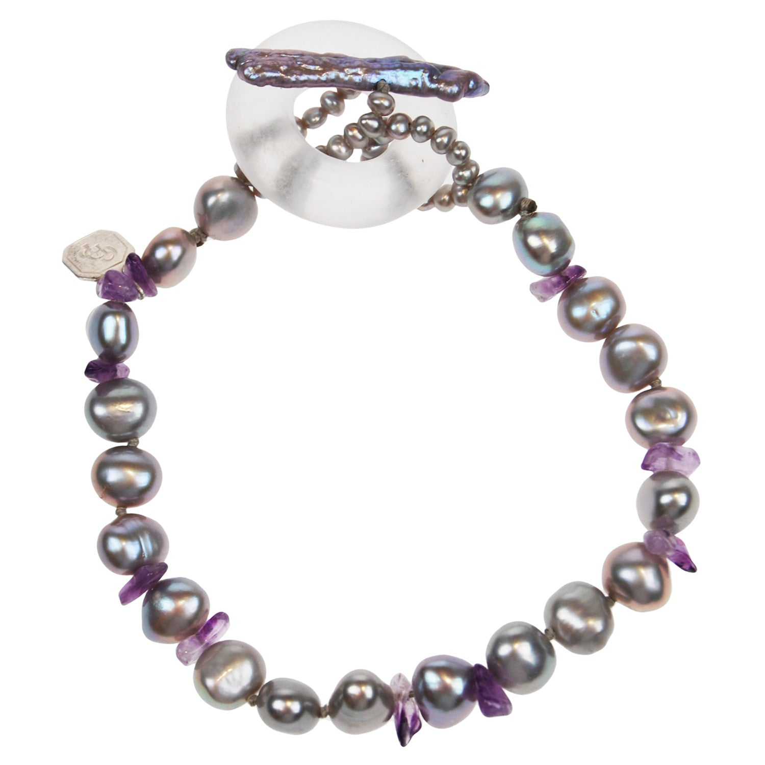 Pearl and Amethyst Bracelet in Grey