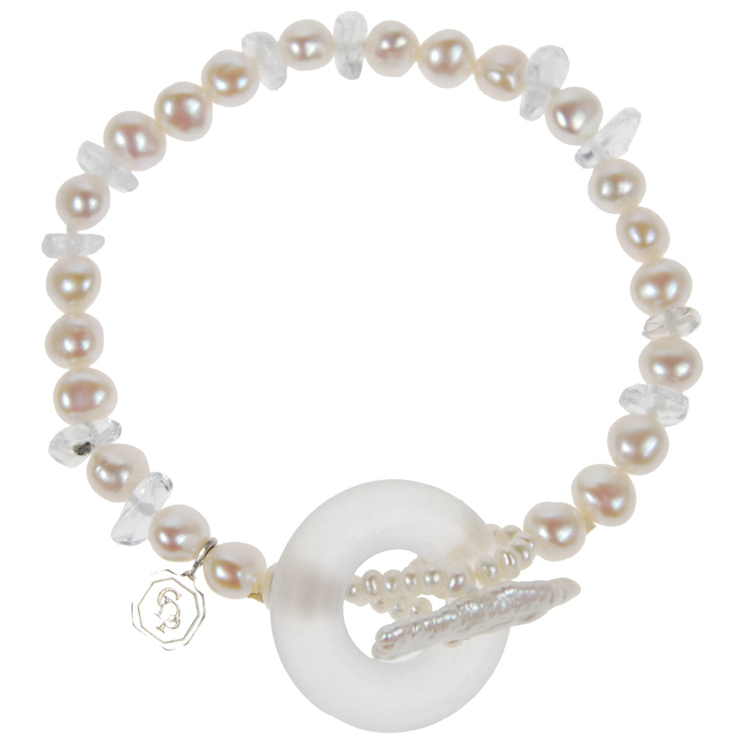 Pearl and Rock Crystal Bracelet in White