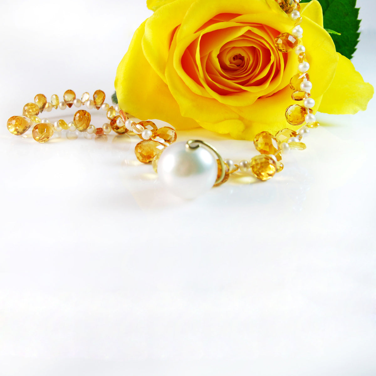 White South Sea Pearl & Citrine 'Happy' Necklace