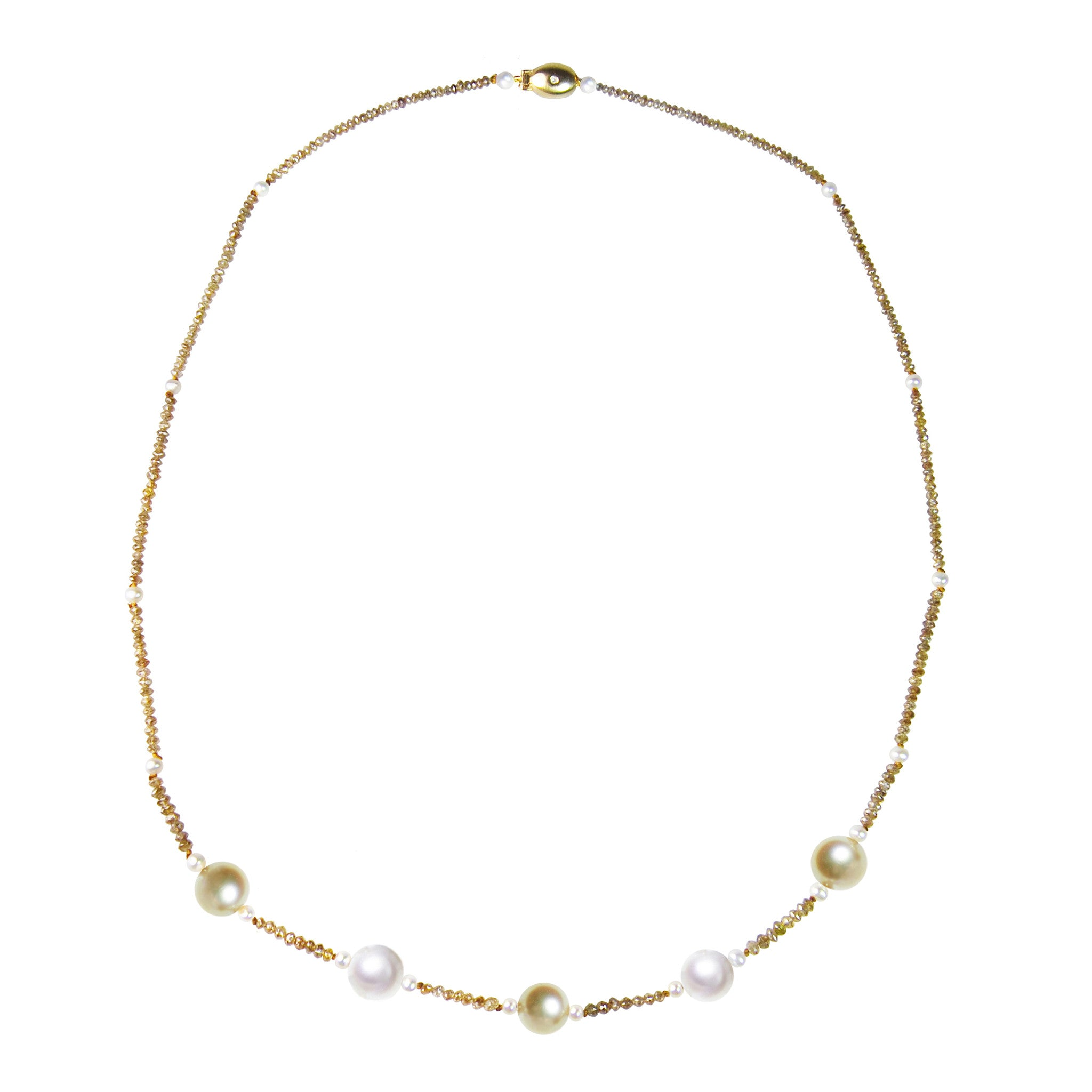 Cognac Diamond and South Sea Pearl Necklace