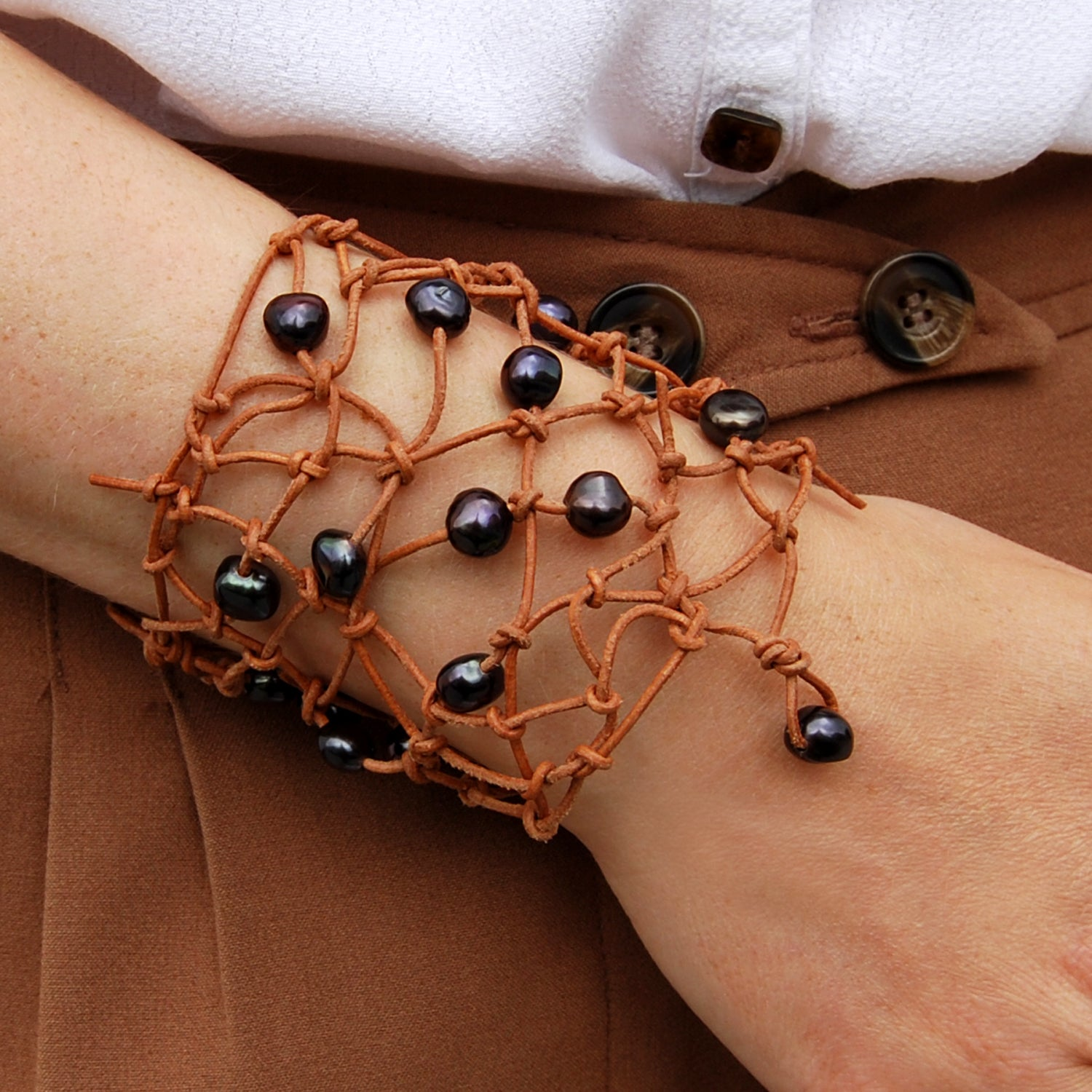 Freshwater Pearl 'Warrior' Armband in Nude Leather