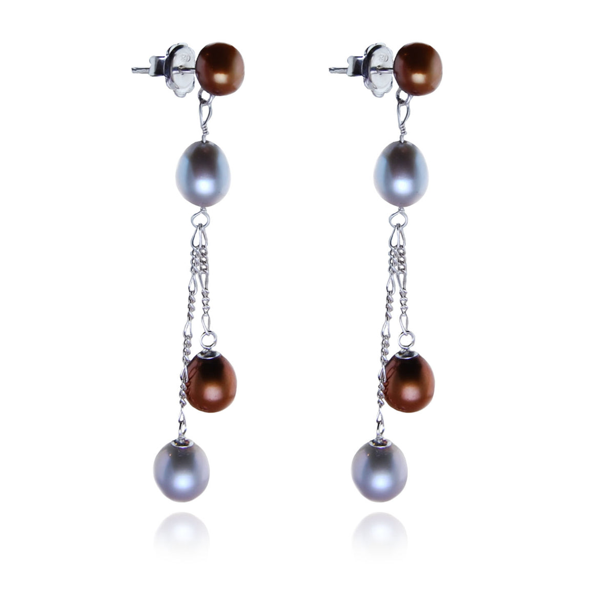 Freshwater Pearl Long Drop Earrings in Copper and Dove Grey