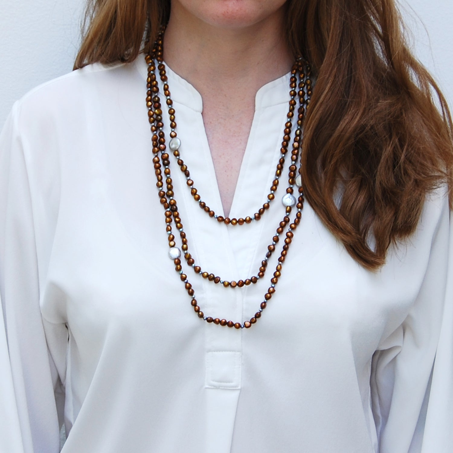 Copper & Grey Freshwater Pearl 'It's a Long Story' Necklace
