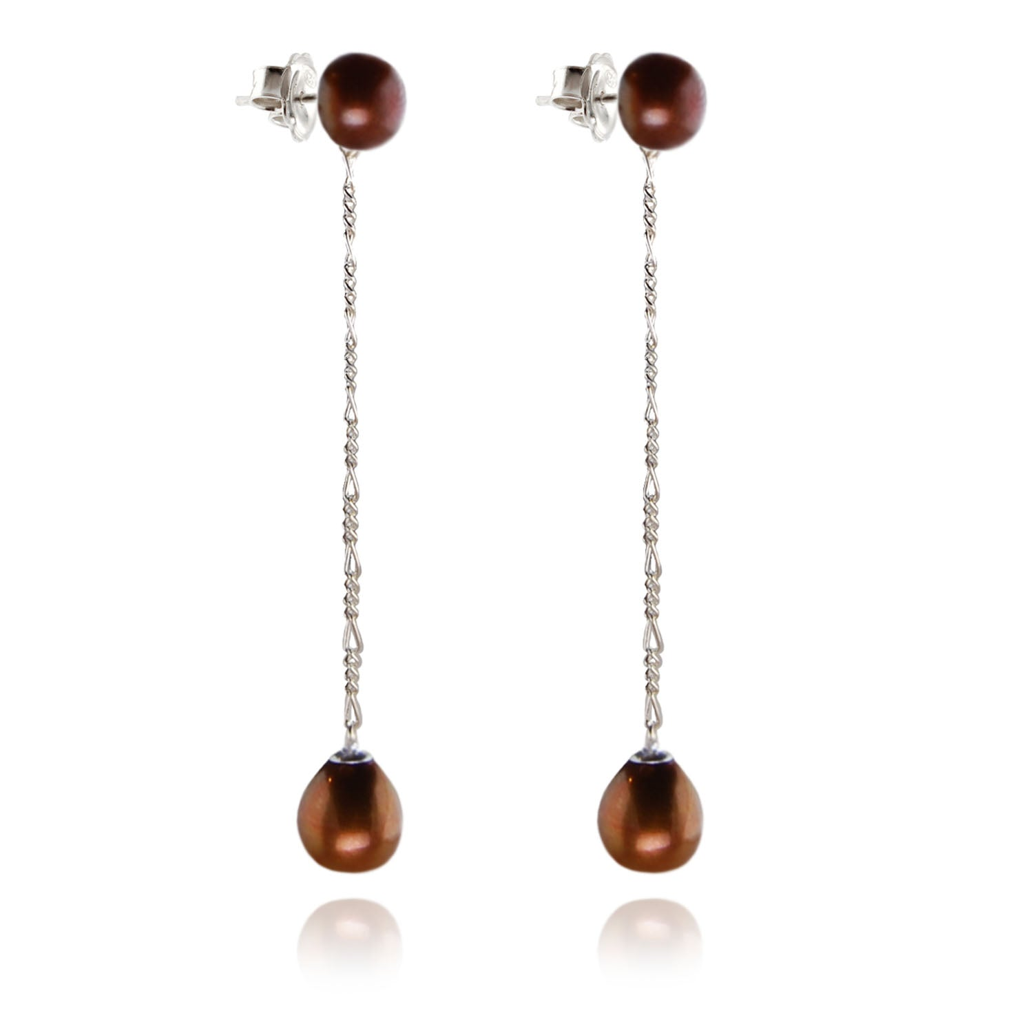 Long Drop Copper Pearl Earrings on Silver