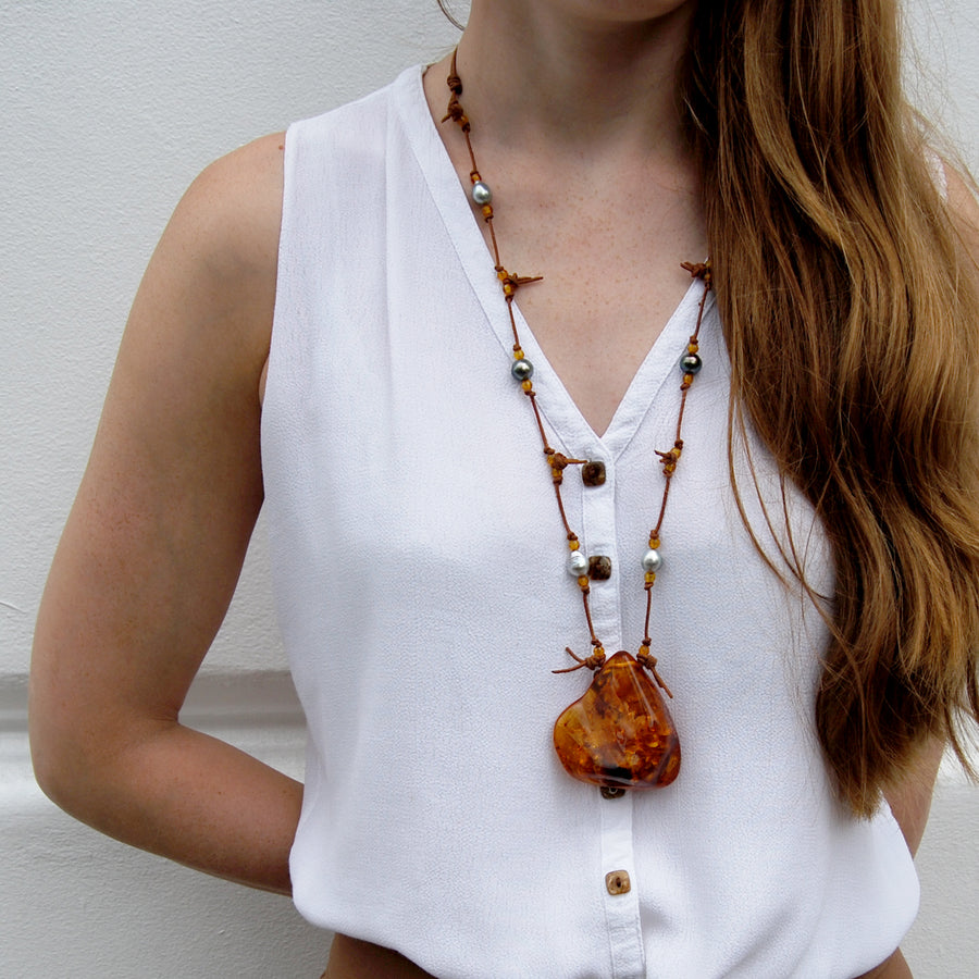 Black Tahitian Pearl & Amber 'Warrior' Long Necklace