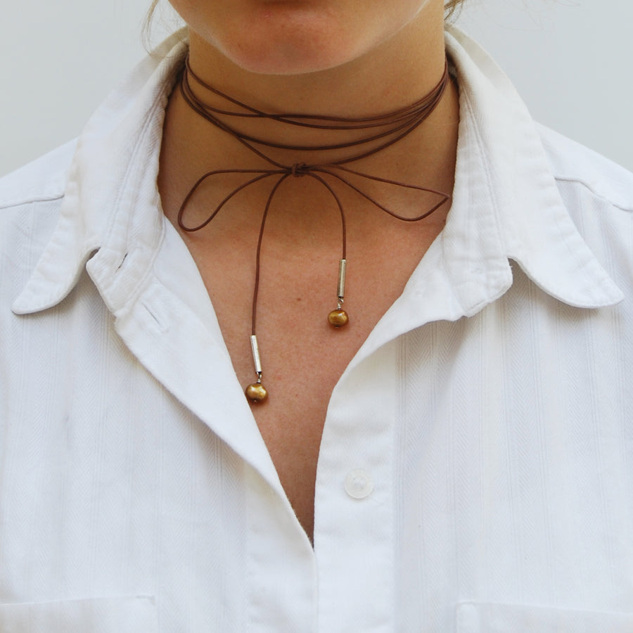 Joyful Tan Leather Necklace With Two Pearl Drops