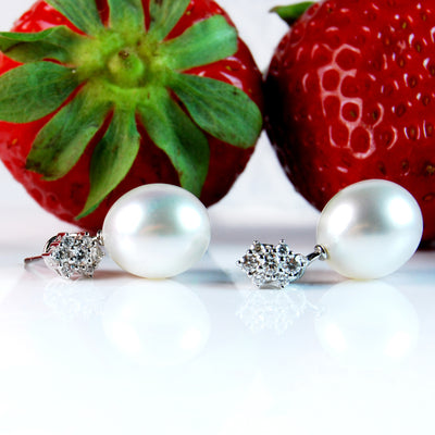 Diamond 'Flower' Studs with South Sea Pearl Drops
