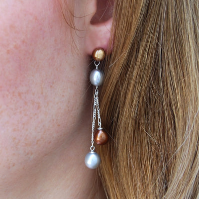 Copper & Grey Freshwater Pearl Long Double Drop Earrings
