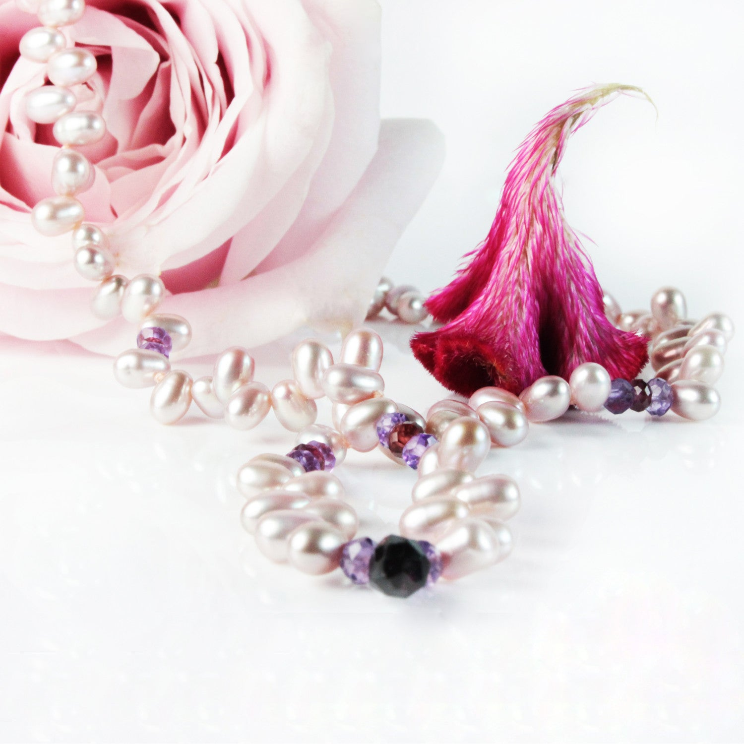 Freshwater Pearl Droplet Necklace with Semi Precious Stones in Pink