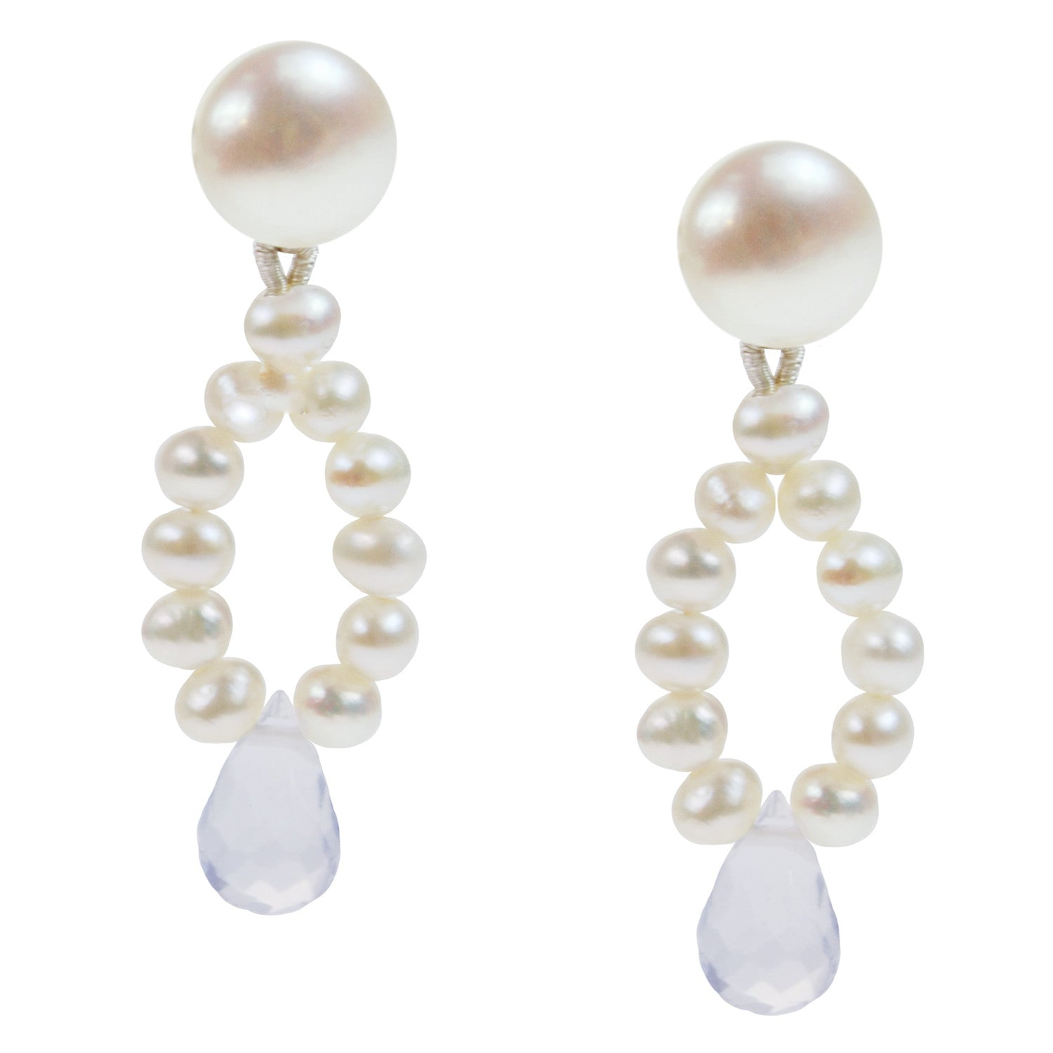 Pearl and Semi Precious Stone Drop Earrings