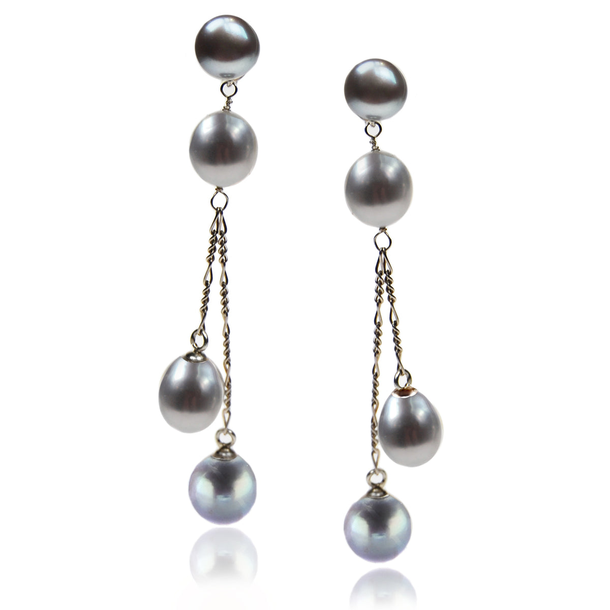 Grey Freshwater Pearl Long Double Drop Earrings
