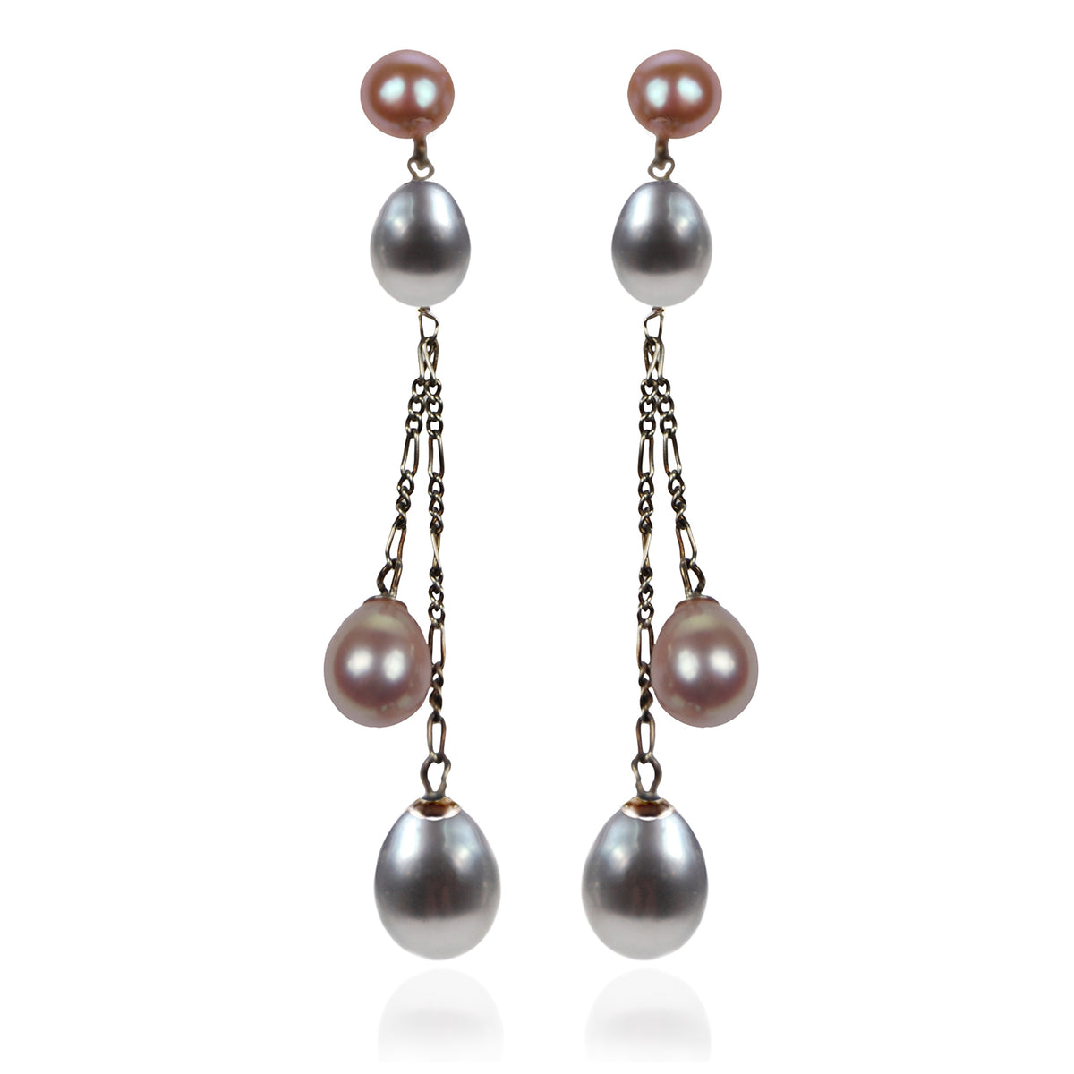 Pink & Grey Freshwater Pearl Long Double Drop Earrings