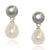 Grey & White Freshwater Pearl Mini Silver Drop Earrings