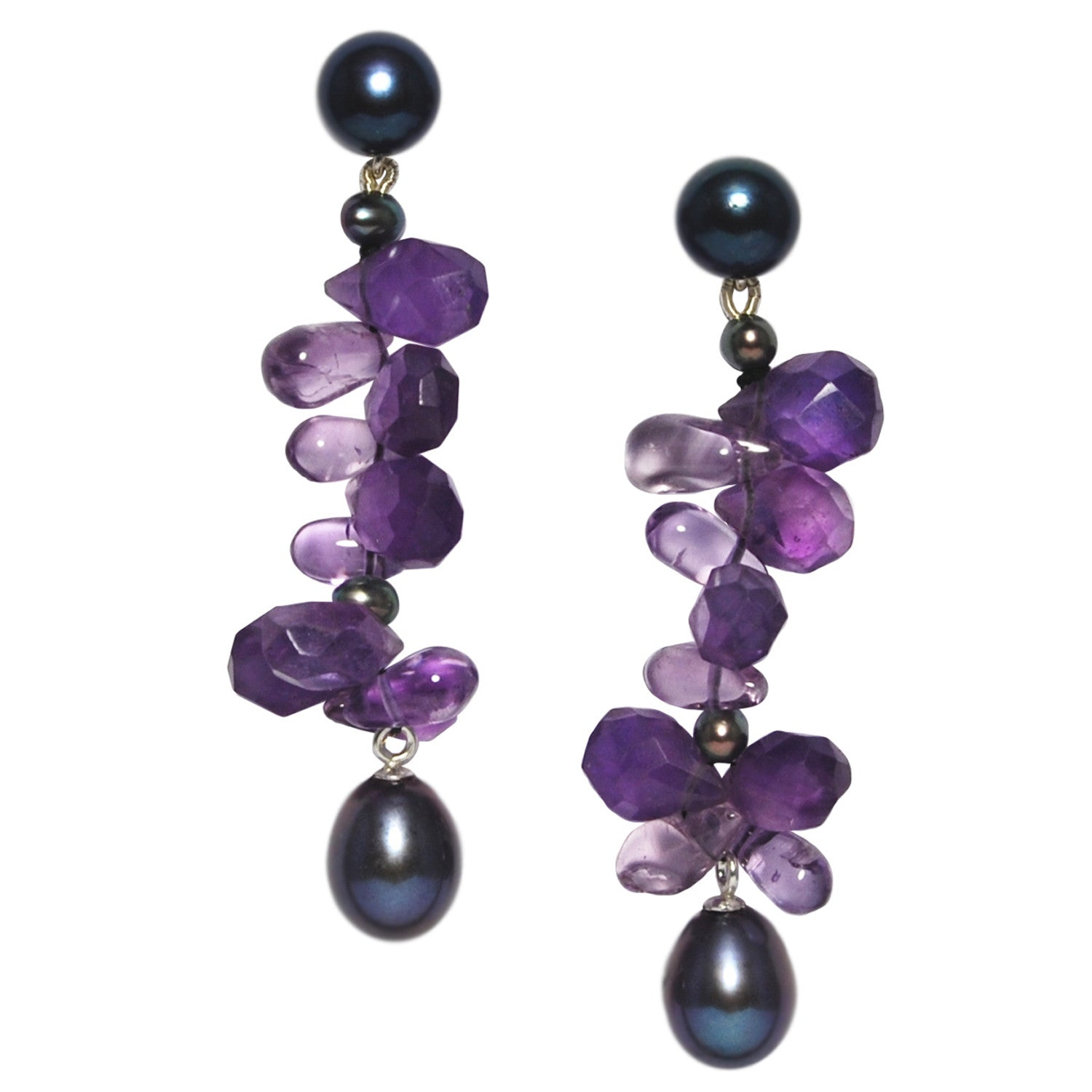 Long 'Twinkling Light' Earrings in Peacock Black and Amethyst