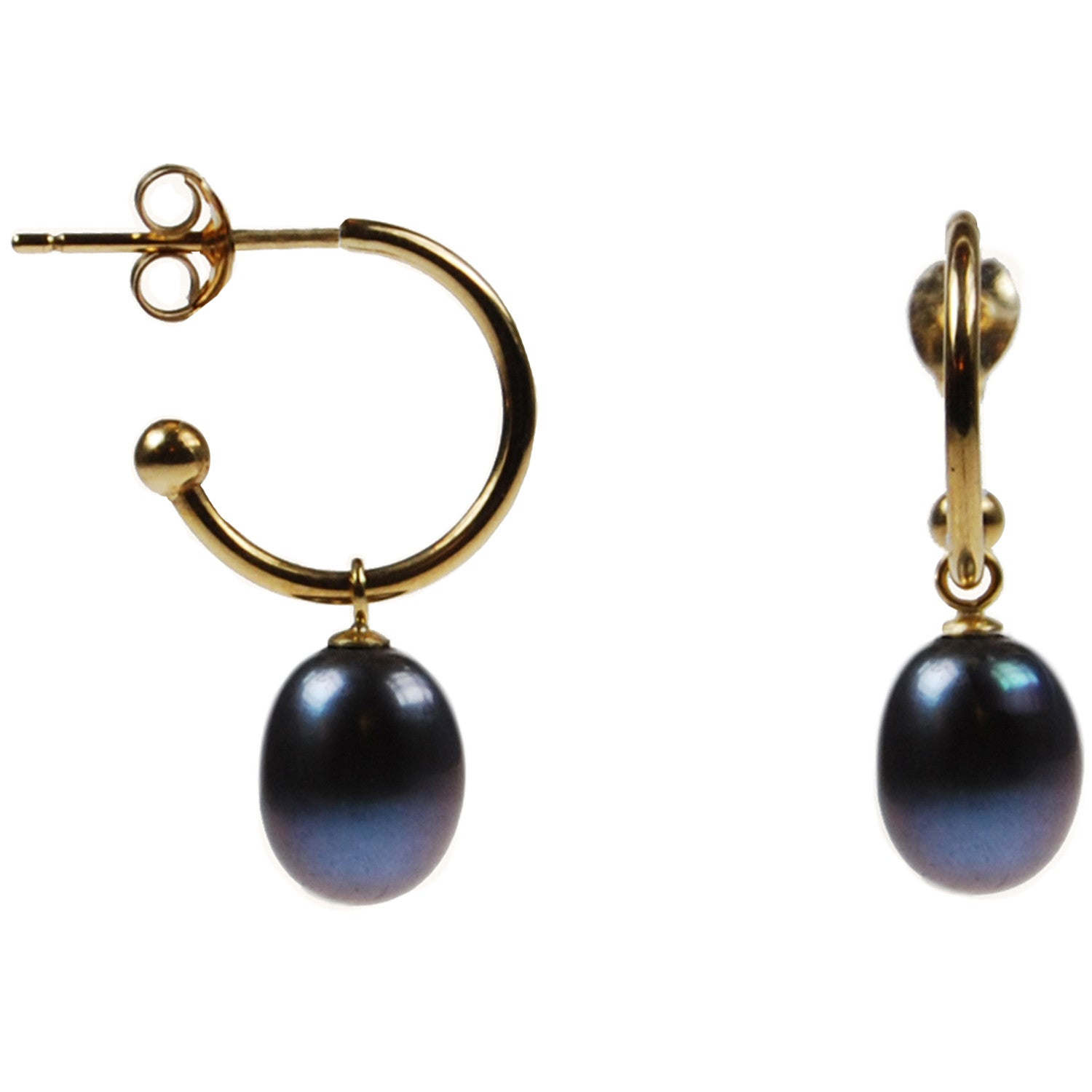Freshwater Pearl Drop Earrings on 18ct Gold Open Hoops in Black