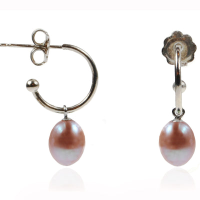 Pink Freshwater Pearl Silver Hoop Earrings